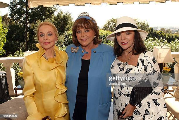 Anne Jeffreys Joanna Carson and Joan Collins attend the wedding of Michael Feinstein and Terrence Flannery held at a private residence on October 17...