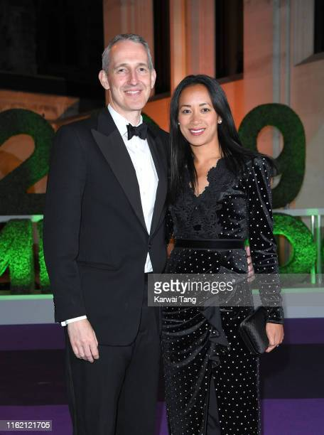 Anne Keothavong and Andrew Bretherton attend the Wimbledon Champions Dinner at The Guildhall on July 14 2019 in London England