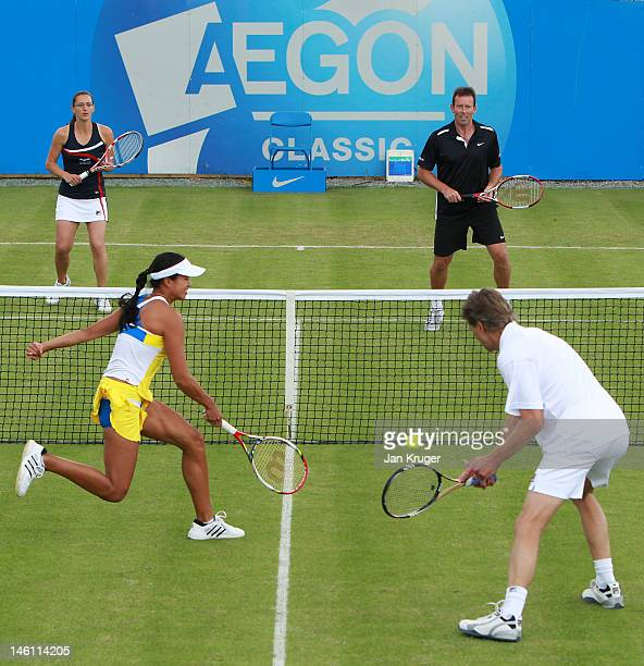 Anne Keothavong and Andrew Castle in action during an exhibition match with Jeremy Bates and Leyla Ogen during an exhibition match ahead of the AEGON...