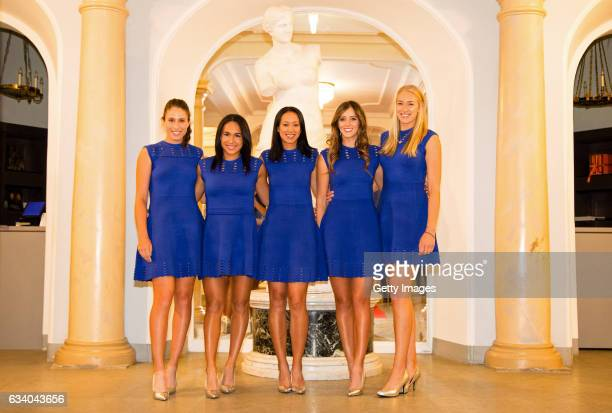 Anne Keothavong captain of the Aegon Great Britain Fed Cup team and Johanna Konta Heather Watson Laura Robson and Jocelyn Rae of Great Britain pose...