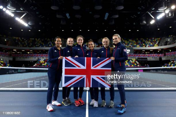 Anne Keothavong, Great Britain Captain, Harriet Dart, Johanna Konta, Heather Watson, Katie Swan and Katie Boulter pose for a team photo after the...