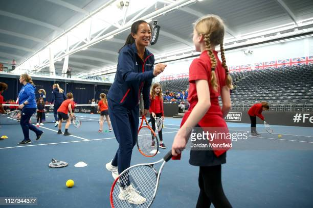Anne Keothavong, Great Britain Captain takes part in a Tennis for Kids activity ahead of the start of the Fed Cup Europe and Africa Zone Group I...