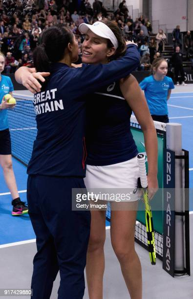 Anne Keothavong Great Britain head coach embraces Johanna Konta of Great Britain during the Europe/Africa Group B match of the Fed Cup by BNP Paribas...