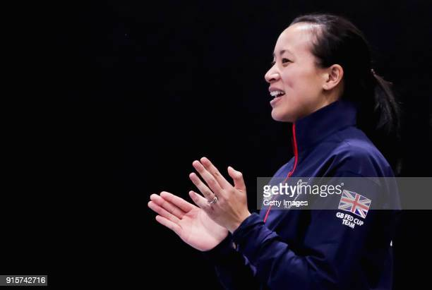 Anne Keothavong Great Britain head coach looks on during the Davis Cup by BNP Paribas Europe/Africa Group B on February 7 2018 in Tallinn Estonia