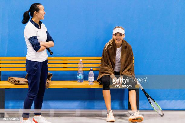 Anne Keothavong Great Britain head coach speaks toKatie Boulter of Great Britain during the Great Britain Training session ahead of the Davis Cup by...