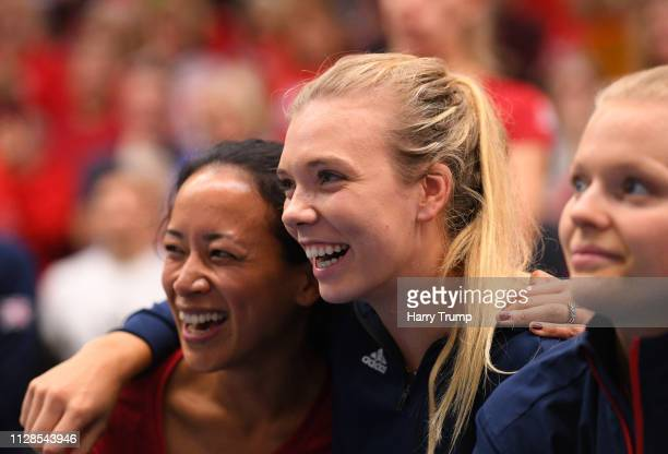 Anne Keothavong Katie Boulter and Harriet Dart of Great Britain look on after winning during Day Four of the Fed Cup Europe and Africa Zone Group I...