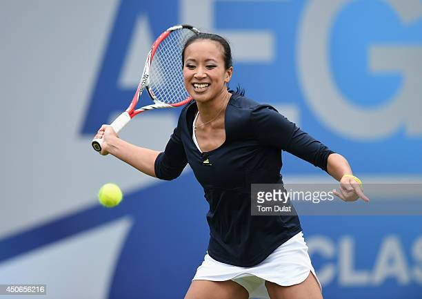 Anne Keothavong of England takes part in an exhibition match to honour the late Elena Baltacha during Day Seven of the Aegon Classic at Edgbaston...