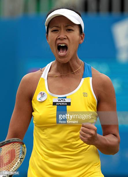 Anne Keothavong of Great Britain celebrates during her match against Tamira Paszek of Austria during day two of the AEGON Classic at Edgbaston Priory...