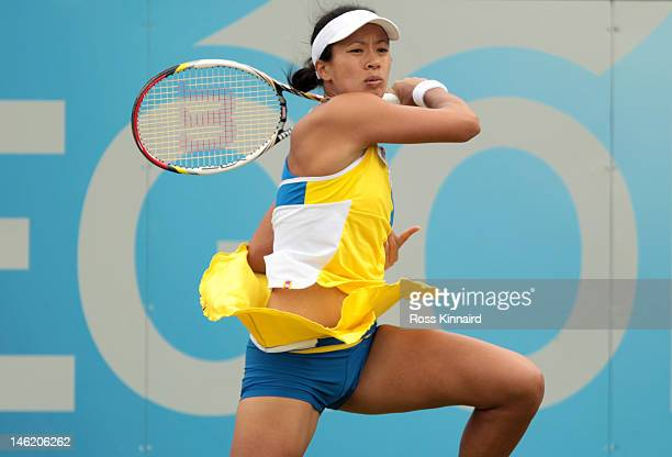 Anne Keothavong of Great Britain in action during her match against Tamira Paszek of Austria during day two of the AEGON Classic at Edgbaston Priory...