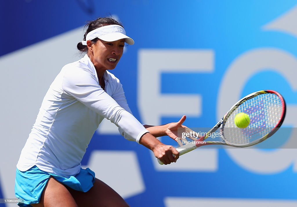 Anne Keothavong of Great Britain in action in her qualifying match against Tara Moore during day one of the Aegon Interantional at Devonshire Park on June 15, 2013 in Eastbourne, England.