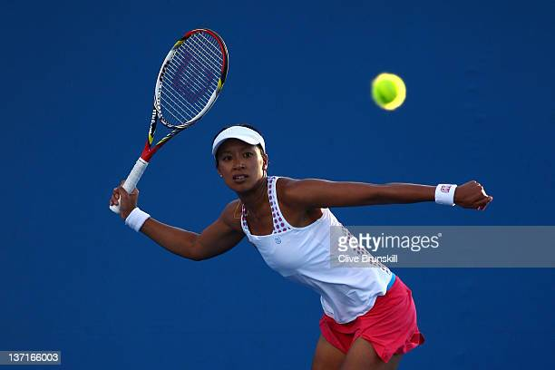 Anne Keothavong of Great Britain plays a forehand during her first round match against Mona Barthel of Germany during day one of the 2012 Australian...