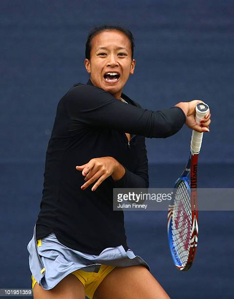 Anne Keothavong of Great Britain plays a forehand in her match against Na Li of China during the AEGON Classic Tennis at the Edgbaston Priory Club on...
