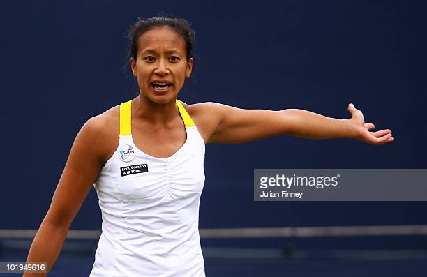 Anne Keothavong of Great Britain reacts to a line call in her women's singles match against Na Li of China during the AEGON Classic Tennis at the...
