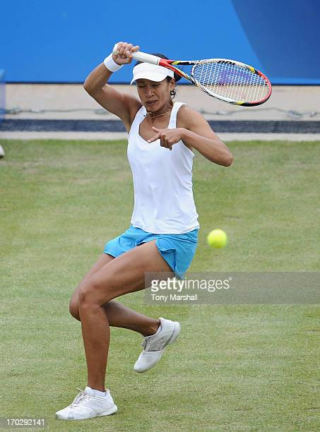 Anne Keothavong of Great Britain returns a shot from Alison Riske of USA during the first round of The AEGON Classic Tennis Tornament at Edgbaston...