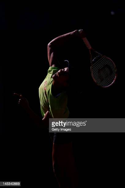 Anne Keothavong of Great Britain serves during a practice session on day one of the French Open at Roland Garros on May 27 2012 in Paris France