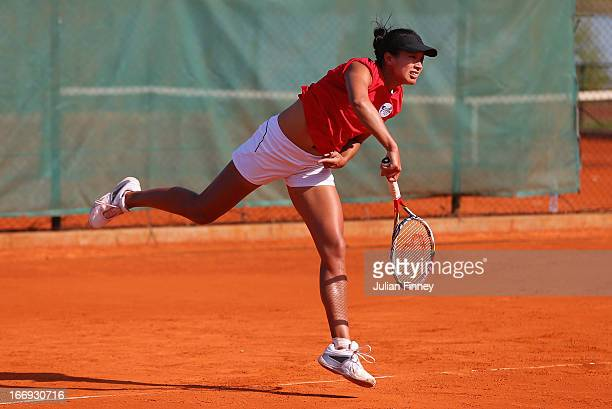 Anne Keothavong of Great Britain serves in a practice session during previews ahead of the Fed Cup World Group Two PlayOffs between Argentina and...