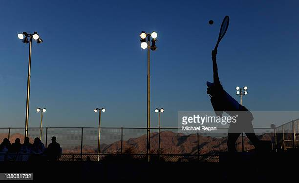 Anne Keothavong of Great Britain serves in her match with Bibiane Schoofs of the Netherlands during the tie between Great Britain and the Netherlands...