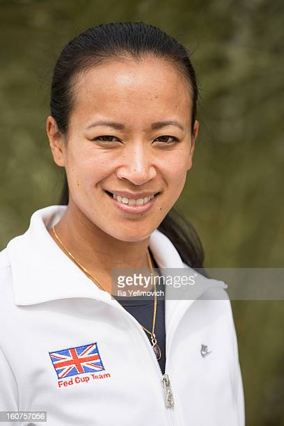 Anne Keothavong of the Great Britain Fed Cup Team 1 poses for a photoshoot at the Sport Hotel ahead of the Fed Cup Group B matches in the Euro/Africa...