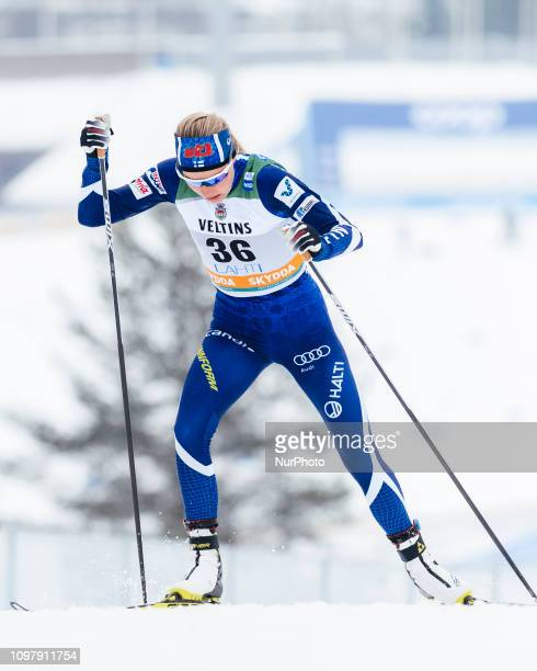 Anne Kyllönen competes in FIS Ladies' CrossCountry World Cup Sprint Qualification at the Lahti Ski Games in Lahti Finland on 9 February 2019