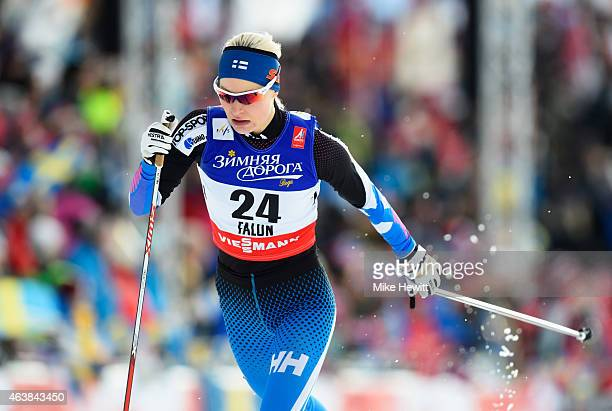 Anne Kylloenen of Finland competes during the Women's CrossCountry Sprint Qualification during the FIS Nordic World Ski Championships at the Lugnet...
