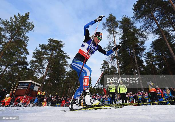 Anne Kylloenen of Finland competes during the Women's CrossCountry Team Sprint Final during the FIS Nordic World Ski Championships at the Lugnet...