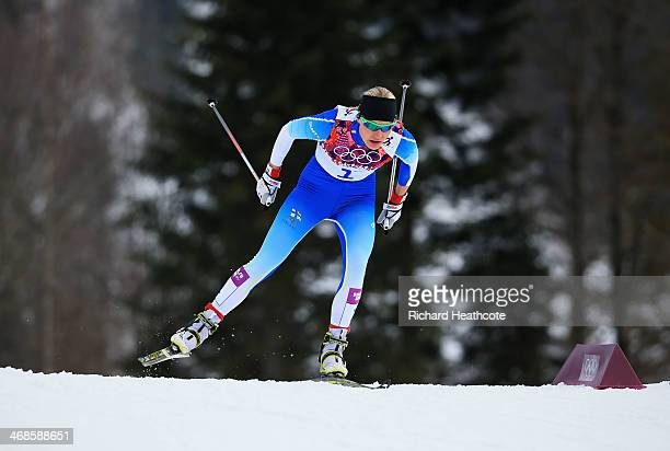 Anne Kylloenen of Finland competes in Qualification of the Ladies' Sprint Free during day four of the Sochi 2014 Winter Olympics at Laura...
