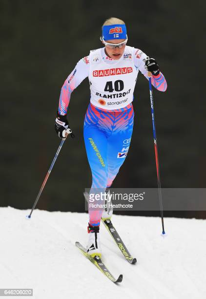 Anne Kylloenen of Finland competes in the Women's 10km Cross Country during the FIS Nordic World Ski Championships on February 28 2017 in Lahti...