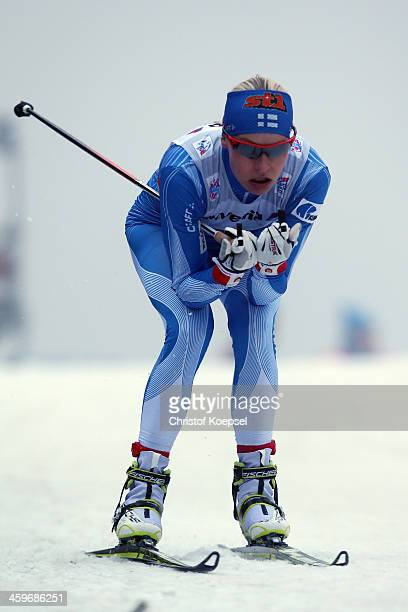 Anne Kylloenen of Finland competes in the Women's 15km qualification free sprint at the Viessmann FIS Cross Country World Cup event at DKB Ski Arena...