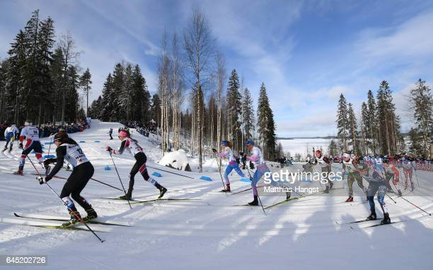 Anne Kylloenen of Finland competes in the Women's Cross Country Skiathlon during the FIS Nordic World Ski Championships on February 25 2017 in Lahti...