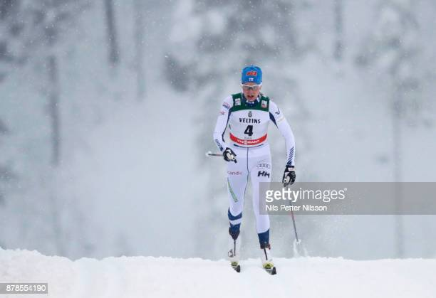 Anne Kylloenen of Finland during the cross country sprint qualification during the FIS World Cup Ruka Nordic season opening at Ruka Stadium on...