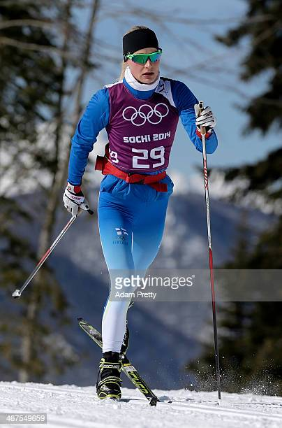 Anne Kylloenen of Finland in action during a crosscountry training session ahead of the Sochi 2014 Winter Olympics at the Laura CrossCountry Ski and...