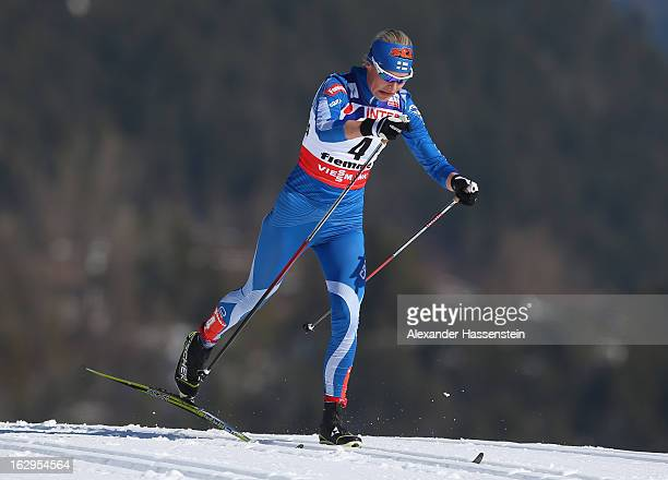 Anne Kylloenen of Finland in action during the Women's Cross Country Mass Start 30Km at the FIS Nordic World Ski Championships on March 2, 2013 in...