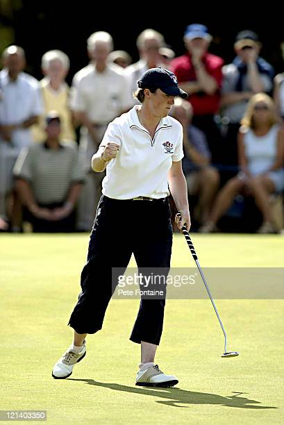 Anne Laing competes on the final day of the Curtis Cup at the Formby Golf Club June 13 2004