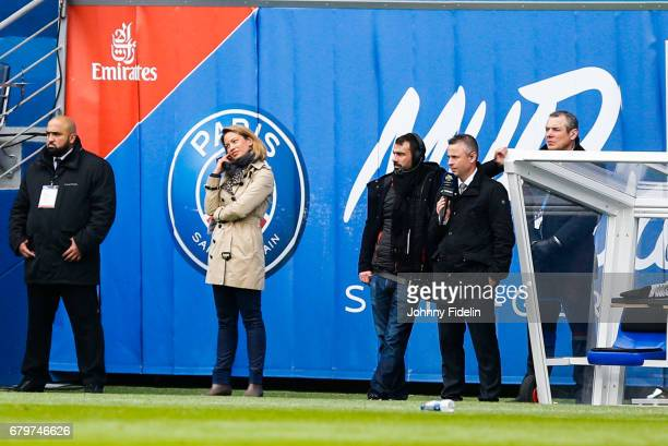Anne Laure Bonnet french journalist of Bein Sport and Olivier Tallaron french journalist of Canal plus during the French Ligue 1 match between Paris...