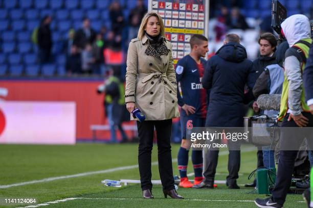 Anne Laure Bonnet journalist for Bein Sport during the Ligue 1 match between Paris Saint Germain and OGC Nice at Parc des Princes on May 4 2019 in...