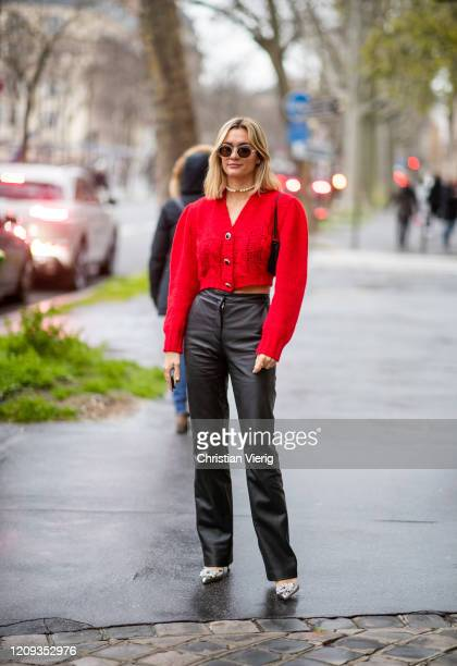 Anne Laure Mais is seen wearing red cropped cardigan, black pants outside Alessandra Rich during Paris Fashion Week - Womenswear Fall/Winter...
