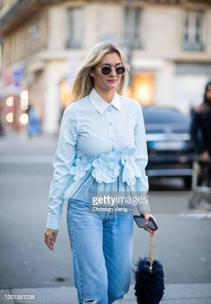Anne Laure Mais seen wearing denim jeans, blue button shirt outside Viktor & Rolf during Paris Fashion Week - Haute Couture Spring/Summer 2020 on...