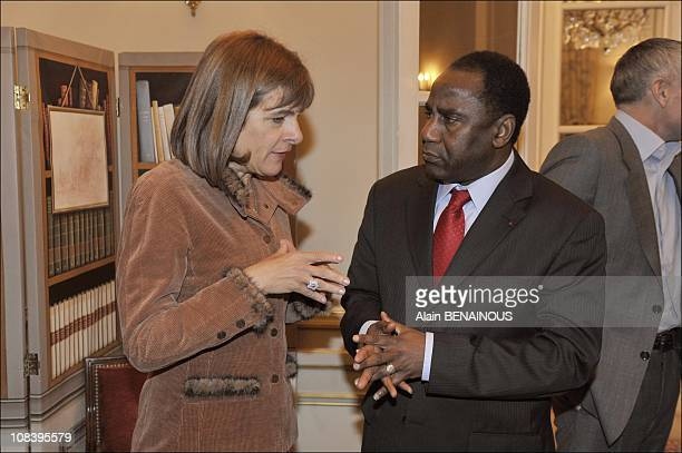 Anne Lauvergeon Chairman of Areva with Adamou Seydoun ambassador of Niger in Paris France on December 03 2008