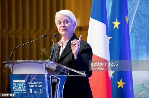 Anne Le Lorier deputy governor of the Bank of France gestures as she speaks during Climate Finance Day at the French Economy Ministry in Paris France...