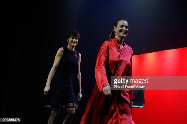 Anne Le Nen and Carole Bouquet Perform 'Les Monologues du Vagin' during 'Paroles Citoyennes 10 shows to wonder about the society' at Bobino on March...
