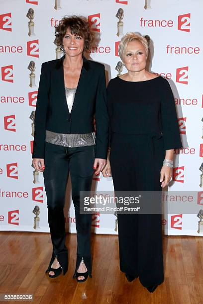 Anne Le Nen and Muriel Robin attend La 28eme Nuit des Molieres on May 23 2016 in Paris France