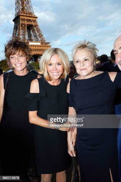 Anne Le Nen Brigitte Macron and Muriel Robin attend Line Renaud's 90th Anniversary on July 2 2018 in Paris France