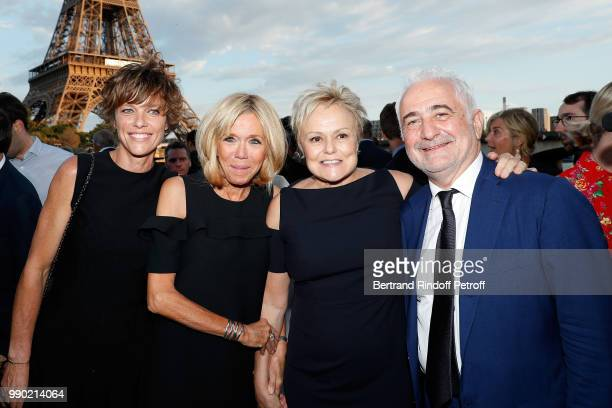 Anne Le Nen Brigitte Macron Muriel Robin and Guy Savoy attend Line Renaud's 90th Anniversary on July 2 2018 in Paris France