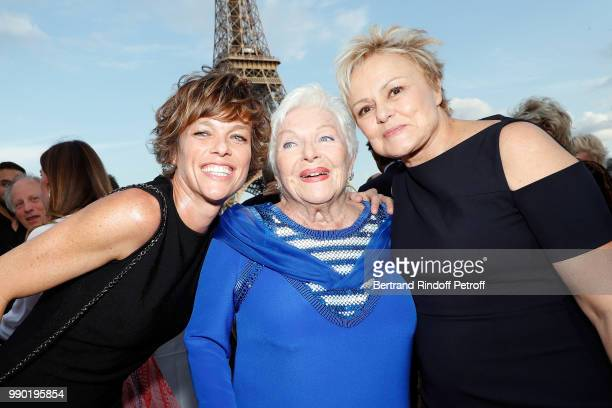 Anne Le Nen Line Renaud and Muriel Robin attend Line Renaud's 90th Anniversary on July 2 2018 in Paris France