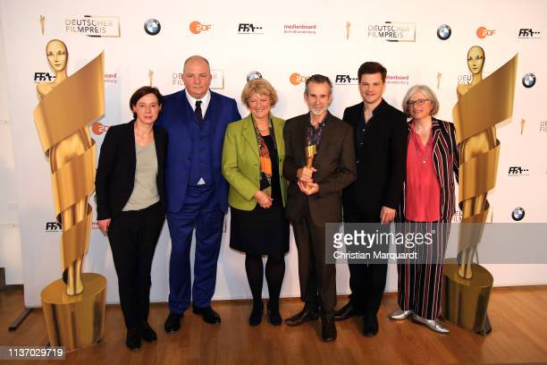 Anne Leppin, Jörg Thadeusz, Monika Gruetters, Ulrich Matthes, Benjamin Herrmann and Claudia Loewe attend the nominees announcement for the Lola -...