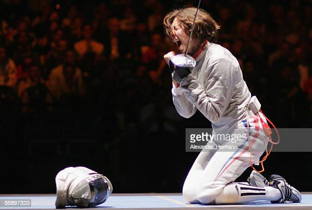 Anne Lise Toya of France celebrates her victory of the women's sabre final against Sophia Velikaia of Russia, during day 4 of the Fencing World...