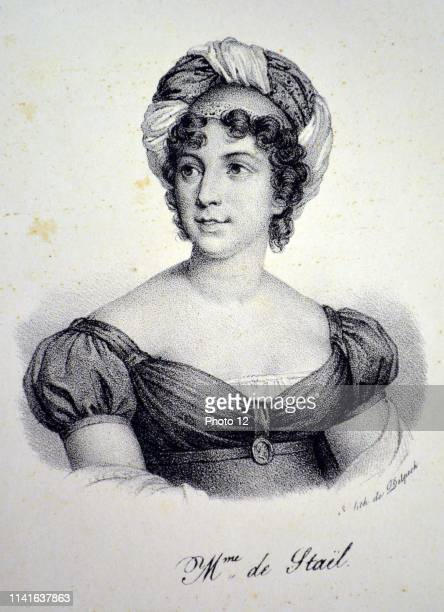 Anne Louise Germaine de Stael Swiss writer and heiress of Jacques Necker Finance minister to Louis XVI Lithograph Paris c1840