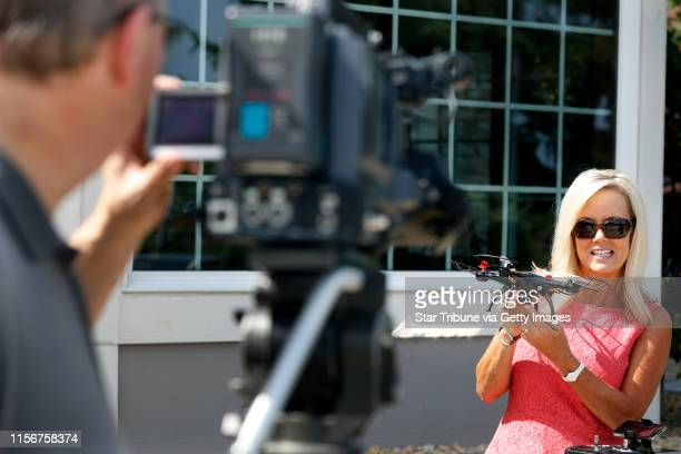 Anne Lynch held a Swift Stream Z-9 drone during a filming for an Internet commercial Thursday August 25, 2016 in Woodbury, MN.] Minneapolis based...