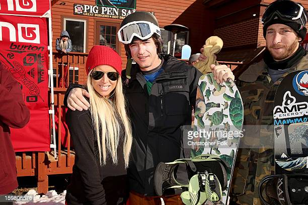 Anne Marie Dacyshyn actor Dermot Mulroney and Burton Pro Rider Jack Mitrani attend Burton Learn To Ride Day 2 on January 20 2013 in Park City Utah
