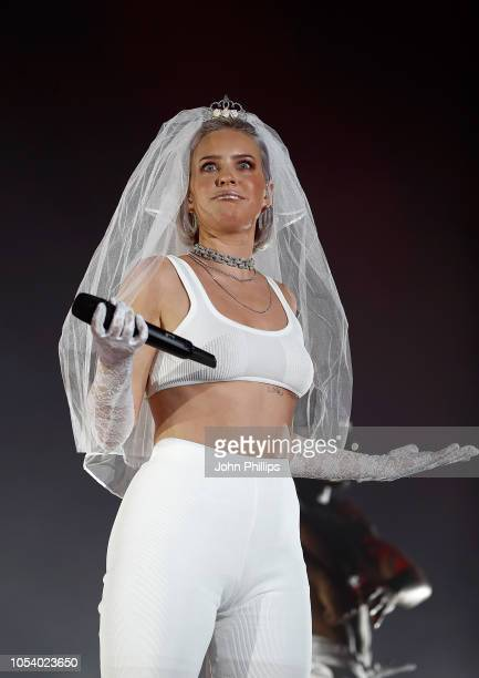 Anne Marie performs on stage during the KISS Haunted House Party 2018 at The SSE Arena Wembley on October 26 2018 in London England